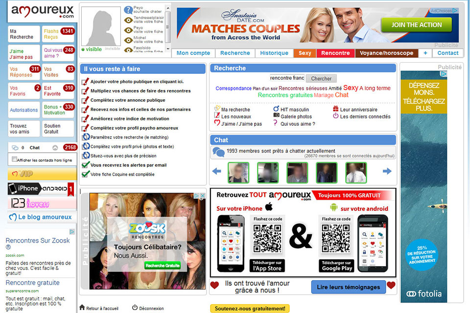 amoureux.com, contenu