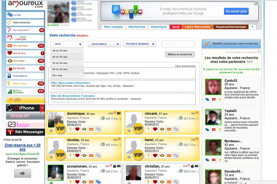 amoureux.com, recherche