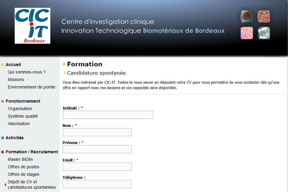 CIC-IT Bordeaux, formulaire